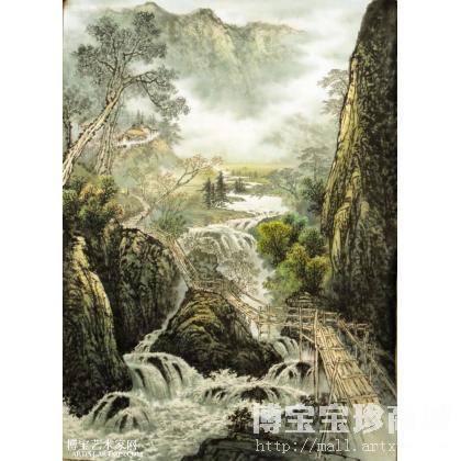 青岛栈桥水墨画